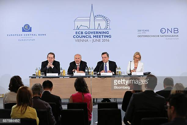 Left to right Vitor Constancio vice president of the European Central Bank Ewald Nowotny governor of Austria's central bank and European Central Bank...