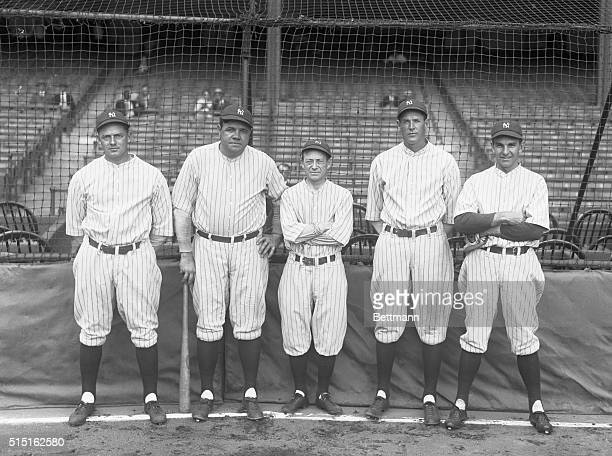 Left to right: Waite Hoyt, Babe Ruth, Miller Huggins, Bob Meusel and Bob Shawkey - Yankees who have been in five World Series.