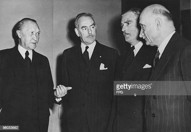 West German Chancellor Konrad Adenauer US Secretary of State Dean Acheson British Foreign Secretary Anthony Eden 1897 1977 and French Foreign...