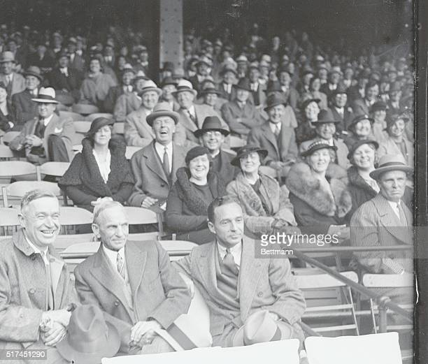 Left to right: Will Rogers, Henry Ford, and Edsel Ford at the opening game of the 1934 World Series--Detroit Tigers vs. St. Louis Cardinals.