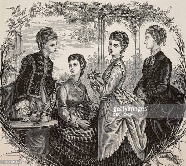 Left to right women wearing a black velvet jacket with floral motifs drap tunic vicuna and faye suit and black faye suit Madame Fladry designs France...