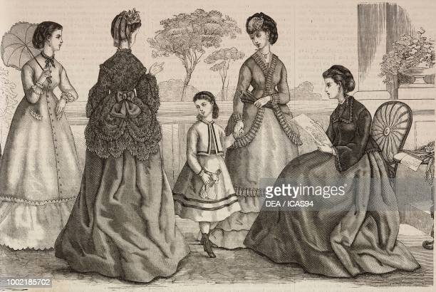 Left to right women wearing a robe Hanneton faye dress girls' suit for ages 35 sultana suit and housedress Madame Fladry designs France engraving...