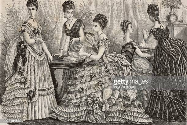 Left to right women wearing an organza faye tulle tarlatan and faye and bangalore evening dresses Madame Fladry designs France engraving from La Mode...