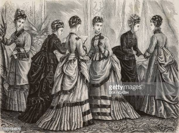 Left to right women wearing dresses in wool poplin Sicilienne vicuna Sicilienne wool poplin Madame Rossignon designs France engraving from La Mode...