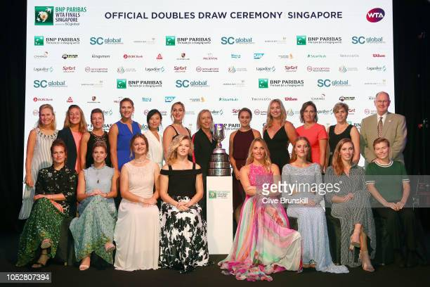 Left to right WTA President Micky Lawler WTA Finals Tournament Director Melissa Pine Kveta Peschke of the Czech Republic Nicole Melichar of the...