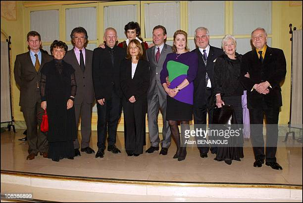 Left to right X Mrs Jack Lang Jack Lang and Jean Paul Gaultier Ines of la Fressange Isabelle Huppert Jean Jacques Aillagon Catherine Deneuve Jean...