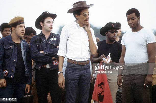Left to right Young Patriots Organization leader Bill 'Preacherman' Fesperman Black Panther Party leaders Bobby Lee Billy 'Che' Brooks and Fred...