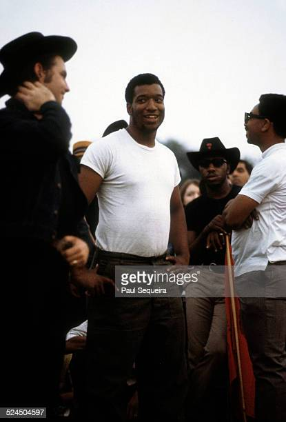 Left to right Young Patriots Organization leader Bill 'Preacherman' Fesperman Black Panther Party leaders Fred Hampton Billy 'Che' Brooks and Bobby...