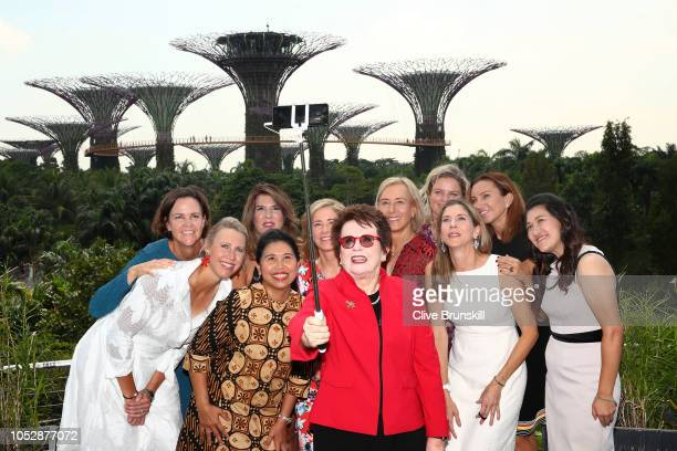 Left to right YYayuk Basuki Alicia Molik Lindsey Davenport Jennifer Capriati Chris Evert Billie Jean King Martina Navratilova Monica Seles Kim...