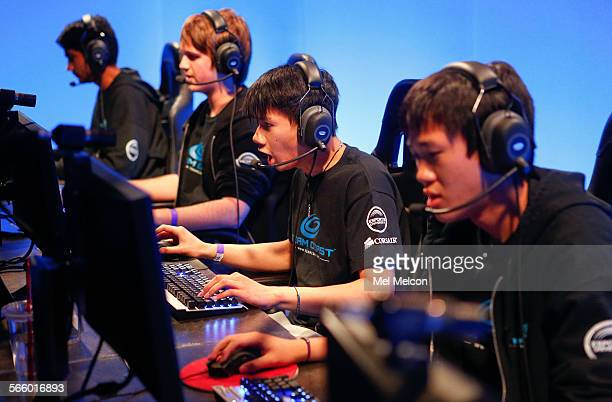 left to rightDarshan Upadhyaya Josh Atkins Danny Le and Brandon Phan members of the eSports team going by the name of Team Coast play a match in the...