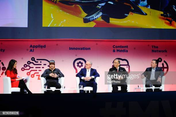 Karen Tso Fernando Alonso Chuck Myers Shin Miyakawa and Zak Brown attended The Fourth industrial Revolution conference at Mobile World Congress day 2...