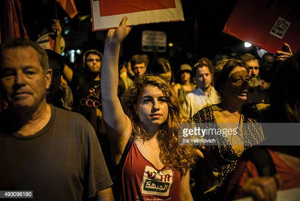 Left wing activists seen marching on October 17 2015 in Jerusalem Israel Around 2000 partisipants took part in an ArabIsraeli demostration for peace...