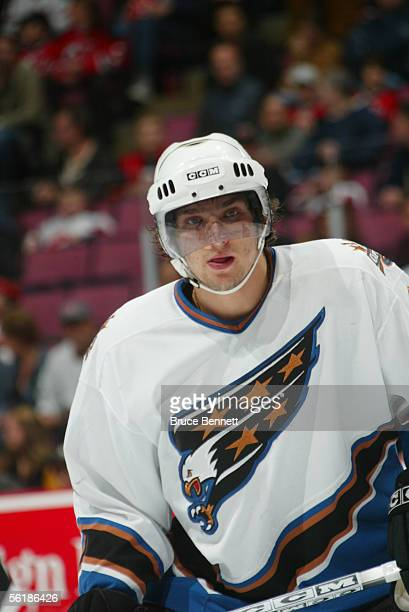 Left wing Alexander Ovechkin of the Washington Capitals looks on against the New Jersey Devils at the Continental Airlines Arena on November 12 2005...