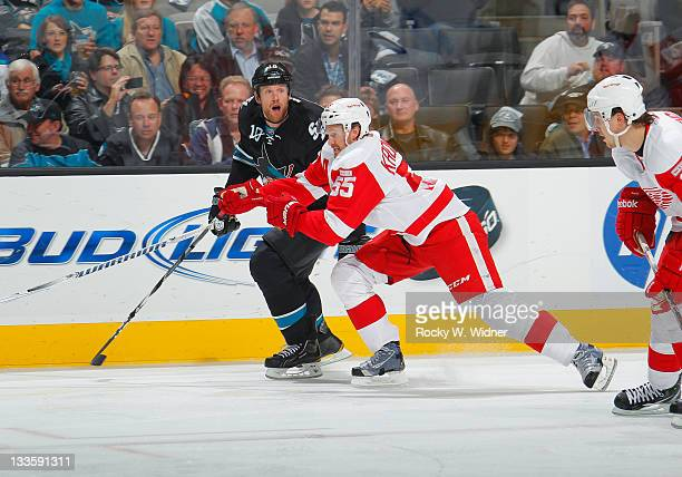 Left wing Brad Winchester of the San Jose Sharks skates for position against defenseman Niklas Kronwall of the Detroit Red Wings at the HP Pavilion...
