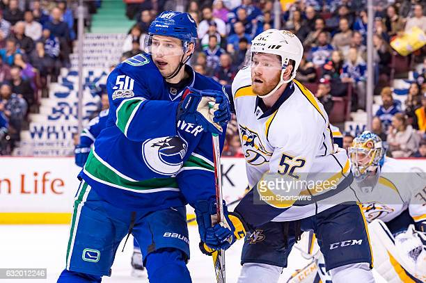 Left Wing Brendan Gaunce and Nashville Predators Defenceman Matt Irwin battle for position during their NHL game at Rogers Arena on January 17 2017...