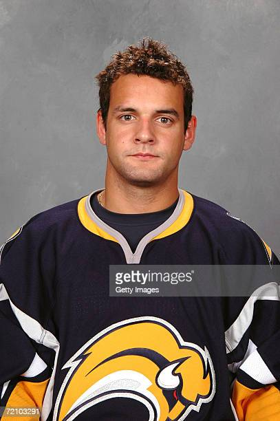 Left wing Clarke MacArthur of the NHL Buffalo Sabres poses for a portrait at HSBC Arena on September 14 2006 in Buffalo New York