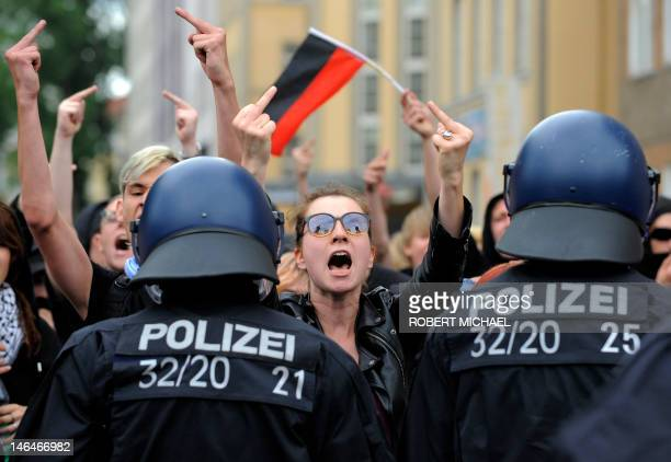 Left wing countermarchers demonstrate against a neoNazi rally on June 17 2012 in Dresden eastern Germany where commemorations were held to remember...