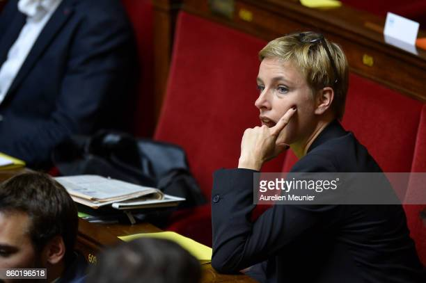 Left wing Deputy Clementine Autain reacts as Ministers answer deputies during the weekly questions to the government at the Assemblee Nationale on...