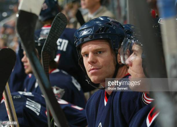 Left wing Fredrik Modin of the Columbus Blue Jackets watches play from the bench during the NHL game against the San Jose Sharks on October 23 2006...