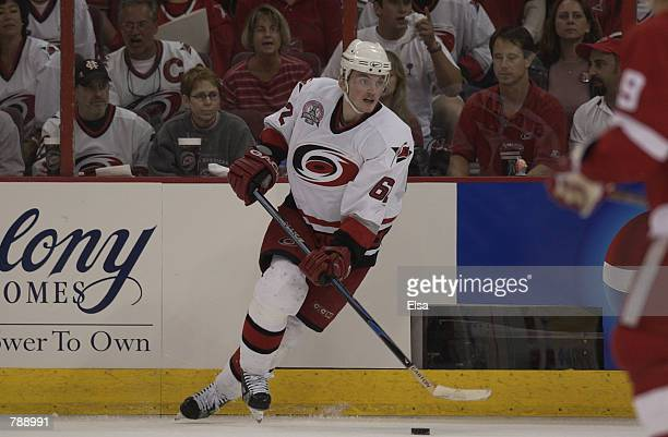 Left Wing Jaroslav Svoboda of the Carolina Hurricanes looks to play the puck against the Detroit Red Wings during game three of the NHL Stanley Cup...