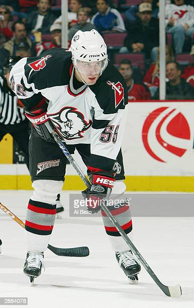 Left wing Jochen Hecht of the Buffalo Sabres waits for the puck during the game against the New Jersey Devils at the Continental Airlines Arena on...