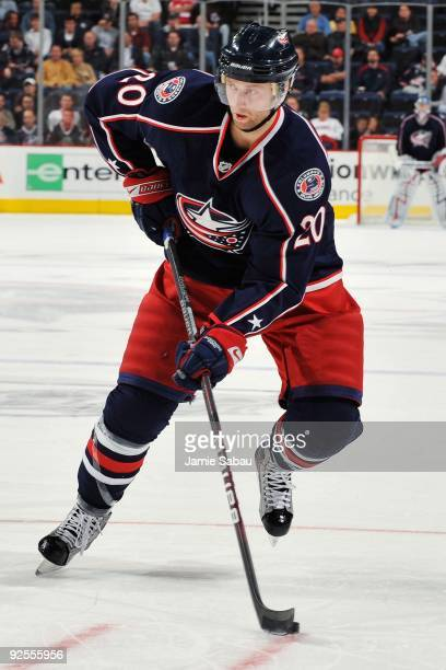 Left wing Kristian Huselius of the Columbus Blue Jackets skates with the puck against the Phoenix Coyotes on October 28, 2009 at Nationwide Arena in...
