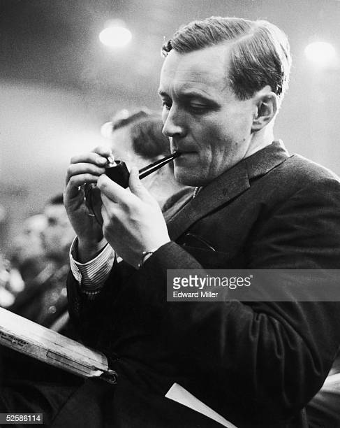Left wing Labour MP Tony Benn lights his pipe during a speech at the Labour Party conference in Brighton 2nd October 1962