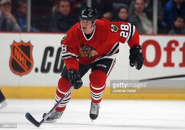 Left wing Mark Bell of the Chicago Blackhawks skates on the ice during the game against the Calgary Flames at the United Center on November 12 2003...