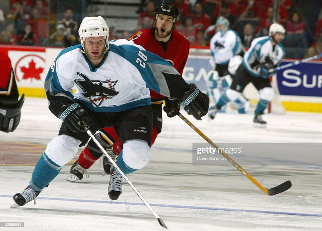 Left wing Nils Ekman #28 of the San Jose Sharks skates on the ice during Game six of the 2004 NHL Western Conference Finals against the Calgary Flames at the Pengrowth Saddledome on May 19, 2004 in Calgary, Alberta. The Flames defeated the Sharks 3-1.
