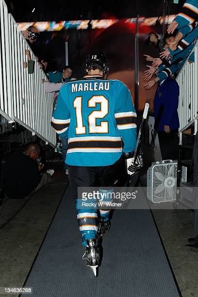 Left wing Patrick Marleau of the San Jose Sharks heads to the ice for the game against the Vancouver Canucks at the HP Pavilion on November 26 2011...