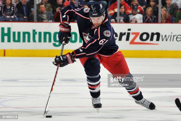 Left wing Rick Nash of the Columbus Blue Jackets skates against the Calgary Flames on October 13, 2009 at Nationwide Arena in Columbus, Ohio. The...