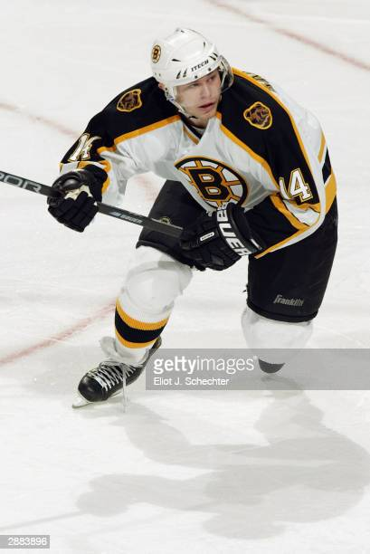 Left wing Sergei Samsonov of the Boston Bruins in action against the Florida Panthers on December 10, 2003 at the Office Depot Center in Sunrise,...