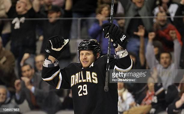 Left wing Steve Ott of the Dallas Stars celebrates his goal against the Phoenix Coyotes at American Airlines Center on February 9, 2011 in Dallas,...