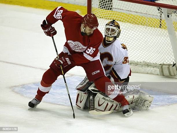 Left wing Tomas Holmstrom of the Detroit Red Wings attempts to score on goalie Miikka Kiprusoff of the Calgary Flames in game 5 of the Western...