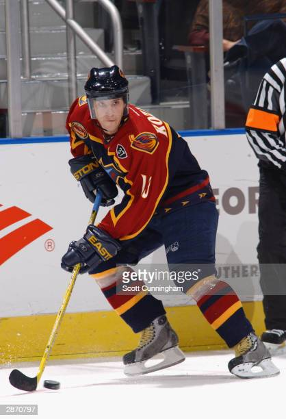Left wing Vyacheslav Kozlov of the Atlanta Thrashers controls the puck during the game against the Columbus Blue Jackets at Philips Arena on October...