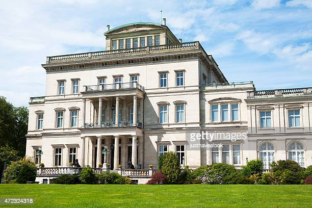 left wing with patio of villa hügel - essen germany stock pictures, royalty-free photos & images