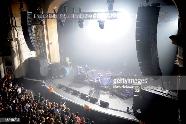 Leftfield performing on stage at Brixton Academy on April 21 2012 in London United Kingdom