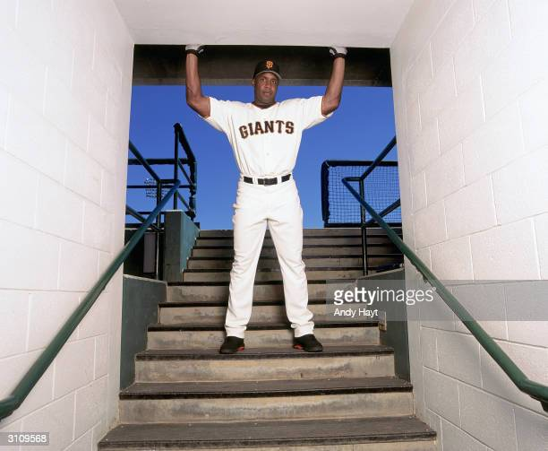 Leftfielder Barry Bonds of the San Francisco Giants poses for a photo on March 16 2004 in Scottsdale Stadium in Scottsdale Arizona