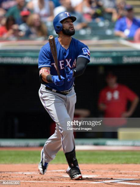 Leftfielder Nomar Mazara of the Texas Rangers looks on after hitting a home run in the top of the first inning of a game on June 29 2017 against the...