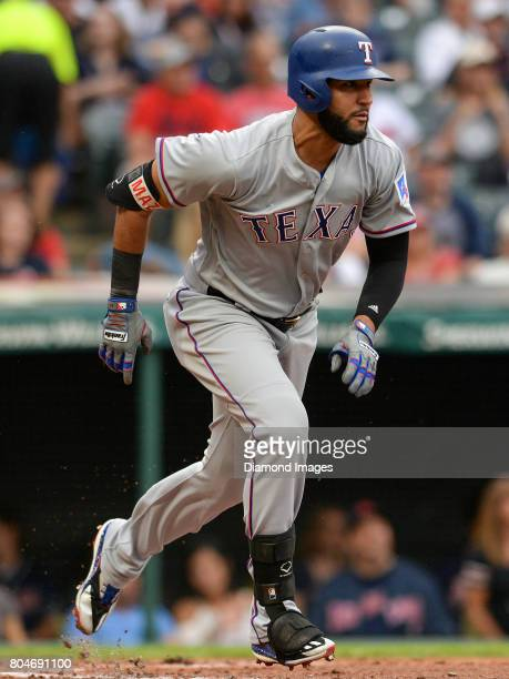 Leftfielder Nomar Mazara of the Texas Rangers runs toward first base after grounding out in the top of the second inning of a game on June 28 2017...