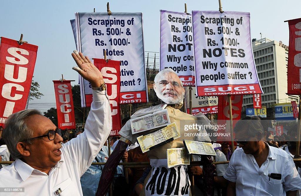 Leftist activists shout slogans against Indian prime