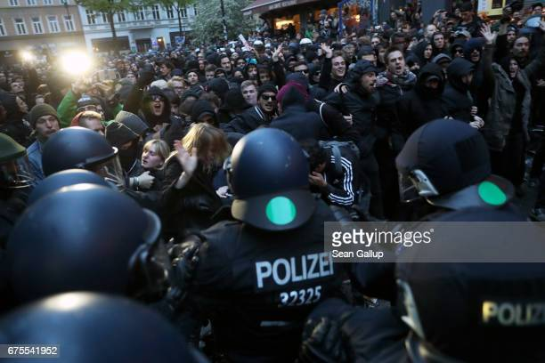 Leftist demonstrators clash with riot police during the 'Revolutionary 1st of May' May Day protest in Kreuzberg district on May 1 2017 in Berlin...