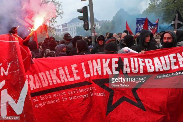 Leftist demonstrators march during the 'Revolutionary 1st of May' May Day protest in Kreuzberg district on May 1 2017 in Berlin Germany Labour unions...