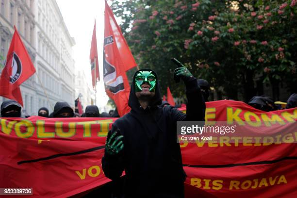 Leftist demonstrators march during the 'Revolutionary 1st of May' May Day protest in Kreuzberg district on May 1 2017 in Berlin Germany May Day is a...