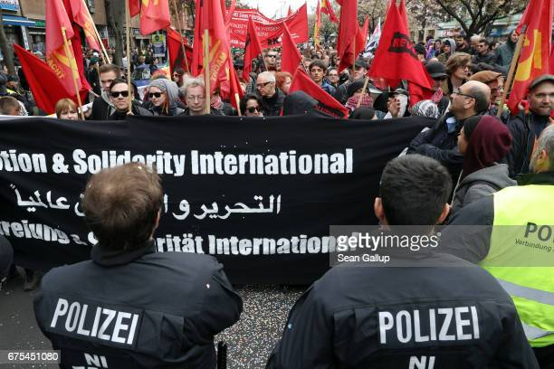 Leftist demonstrators march during the traditional annual May Day protest in Kreuzberg district on May 1 2017 in Berlin Germany Labour unions and...