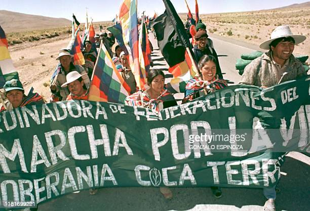 Leftist deputy and peasant leader Evo Morales Ayma leads a protest march gathering some 400 coca growers 28 August 1998 on the highway from Oruro to...