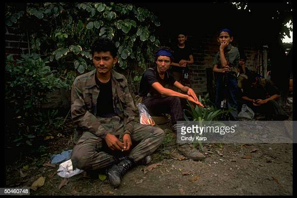 Leftist FMLN guerrillas w captured govt soldier in first days of major rebel offensive