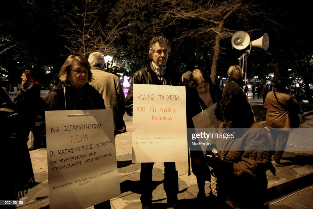 Leftist groups demonstrate against property auctions in Athens, Greece on February 21, 2018. Property auctions are the result of the financial crisis and are demanded by the creditors.