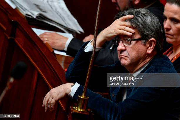 TOPSHOT Leftist La France Insoumise party leader and member of parliament JeanLuc Melenchon attends a session of questions to the government on April...