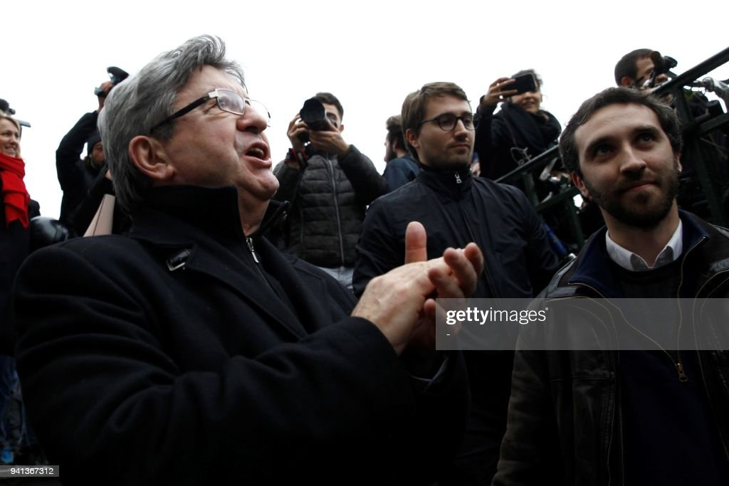 Image result for demonstration of the railway workers in Paris was joined by Mélenchon images April 2018